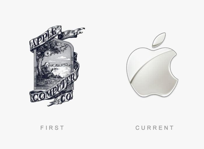 Logotipo antigo e novo Apple