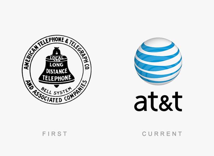 Logotipo antigo e novo AT&T