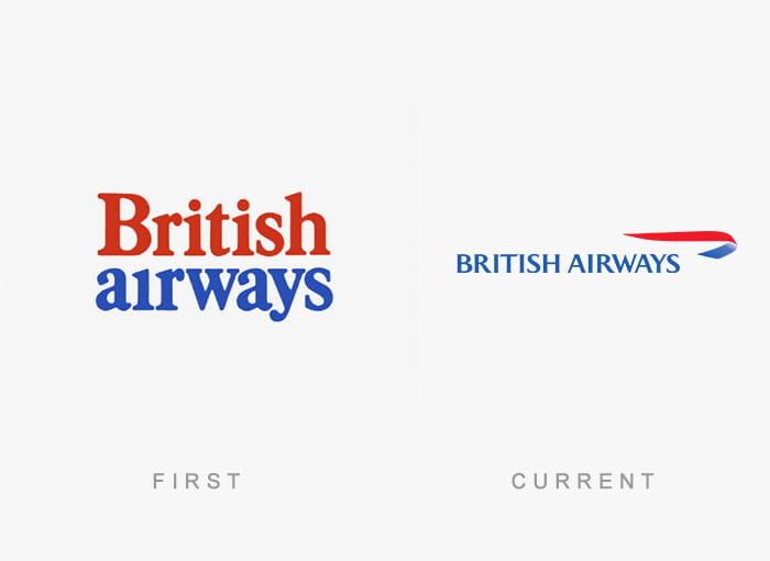 Logotipo antigo e novo British Airways