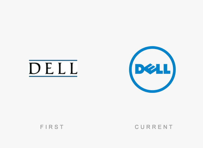 Logotipo antigo e novo Dell