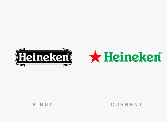 Logotipo antigo e novo Heineken