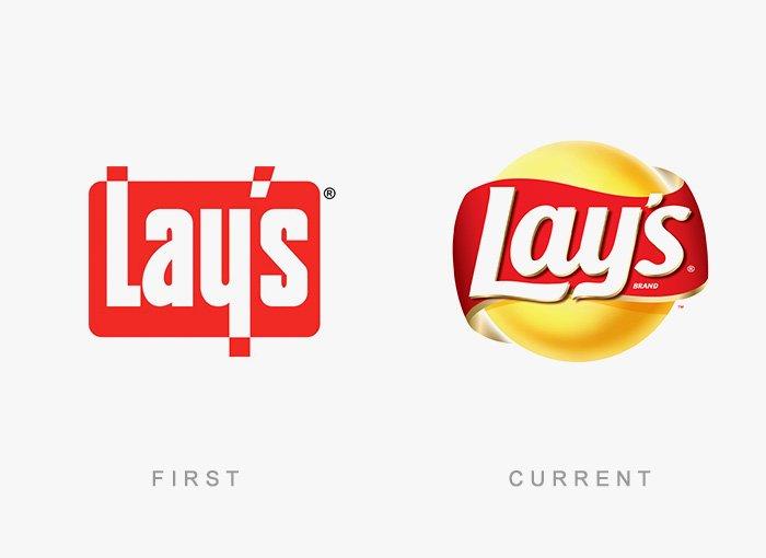 Logotipo antigo e novo Lays
