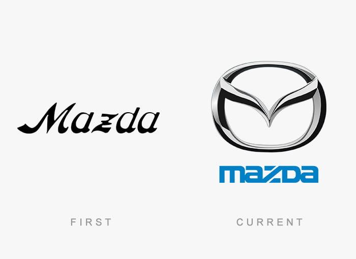 Logotipo antigo e novo Mazda