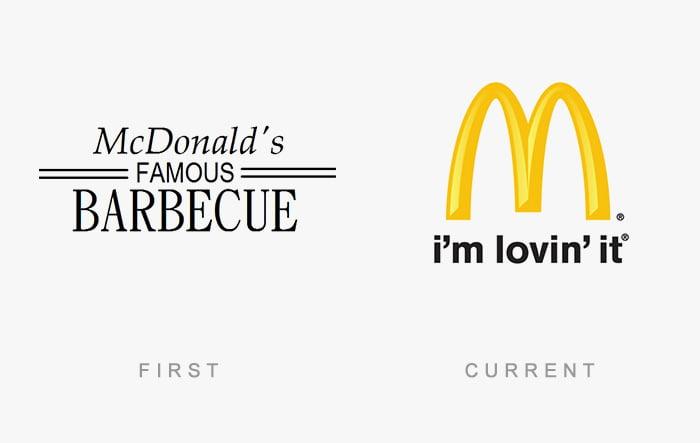 Logotipo antigo e novo Mc Donalds