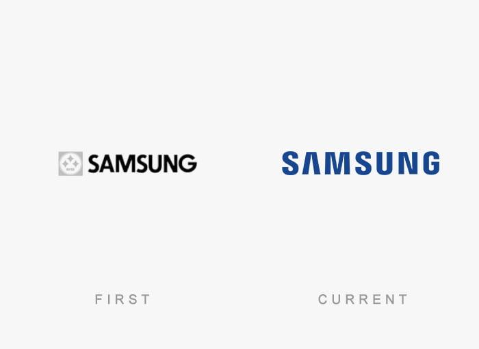 Logotipo antigo e novo Samsung