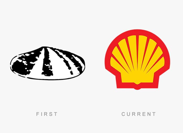 Logotipo antigo e novo Shell
